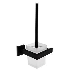 Porte-brosse à toilette en cuivre carré noir accessoire de salle de bains