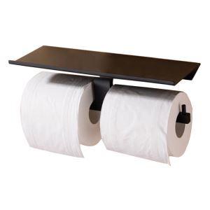 Porte de papier toilette en cuivre noir mural avec deux barres pour salle de bains