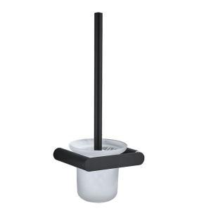 Ensemble de porte-brosse à toilette en acier inoxydable noir pour salle de bains