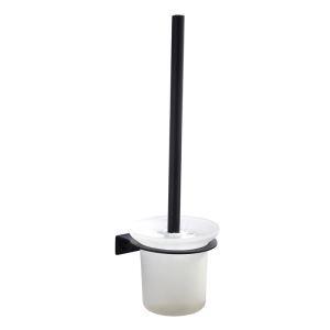 Porte-brosse à toilette noire en acier inoxydable pour salle de bains