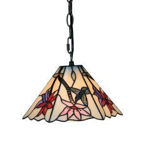 Suspension vintage en verre tiffany à motif des oiseau-mouches et fleurs luminaire chambre salon cuisuine salle à manger
