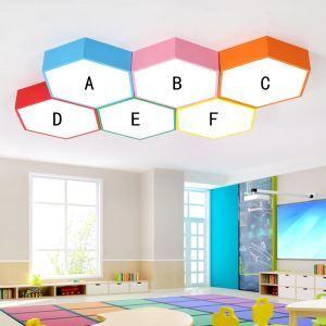 Lampe de plafond LED hexagonale moderne coloré pour Salon Chambre d'enfants