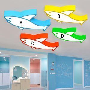 Plafonnier LED moderne à dessin animé requin 24W pour chambre d'enfant/jardin d'enfant