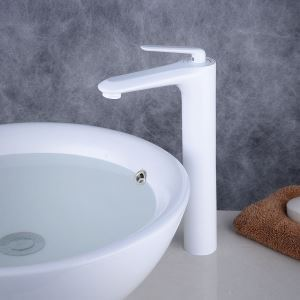 Robinet de lavabo contemporain blanc élégant, peinture de cuisson