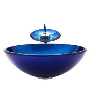 Vasque en verre trempé rond bleu cascade avec robinet pour salle de bains toilettes