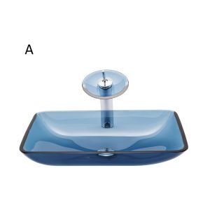 Vasque à poser verre trempé rectangle transparent avec robinet pour salle de bains
