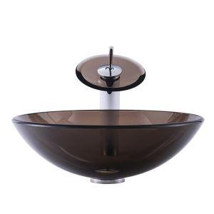 Lavabo transparent en verre trempé D 42cm rond avec robinet pour salle de bains