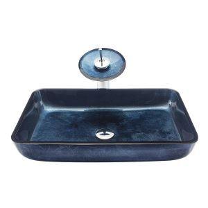 Vasque rectangulaire verre trempé bleu cascade avec robinet pour salle de bains