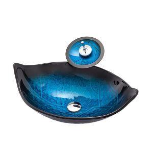 Vasque à poser verre trempé feuille bleue cascade avec robinet pour salle de bains