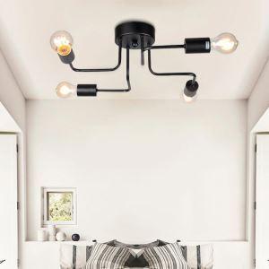 Plafonnier créatif à 4 lampes en fer noir style simple pour salon chambre à coucher