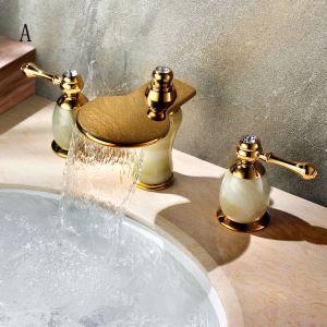 Robinet de lavabo cascade répandu en laiton massif à 2 poignées