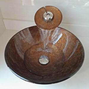 Vasque à poser verre trempé D 42cm rond cascade avec robinet pour salle de bains