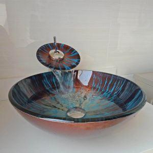 Vasque à poser rond verre trempé marron bleu avec robinet pour salle de bains