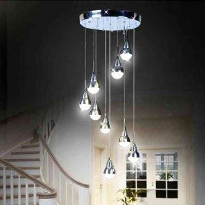 Lustre LED 9 lampes D 30 cm suspension acrylique pour salon chambre salle à manger