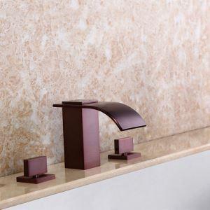 Robinet de lavabo moderne cascade en laiton massif pour salle de bain, fini brossé/ORB