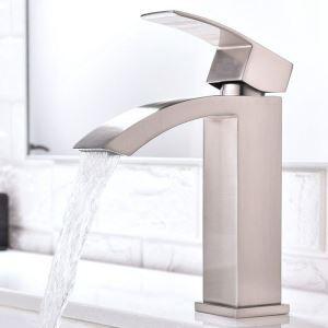 Robinet de lavabo cascade moderne pour salle de bain, fini brossé /or rose