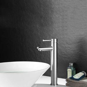 Robinet d'évier contemporain en acier inoxydable 304 monotrou pour salle de bains