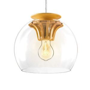 Suspension en bois naturel D 25 cm engrenage design pour cuisine restaurant couloir 1 LED ampoule offerte