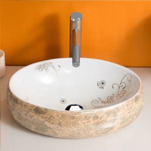 Vasque à poser céramique L 48 cm ovale marbrures pour salle de bains toilettes