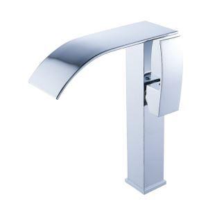 Robinet de lavabo cascade chromé pour salle de bains, simple moderne