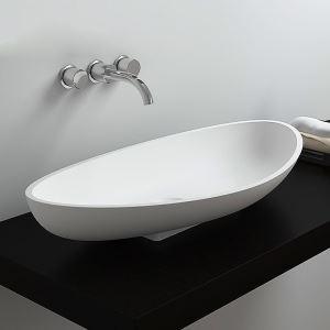 Vasque à poser en pierre artificielle ovale biscornu pour salle de bains