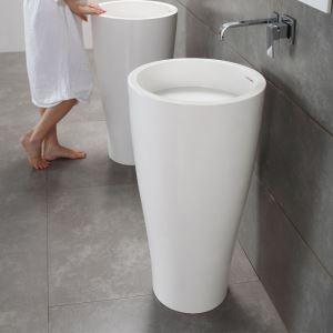 Vasque colonne sur pied en pierre artificielle blanc pour salle de bains toilettes