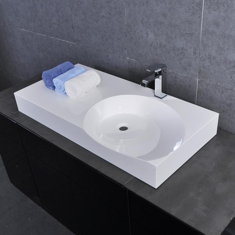 Vasque à Poser Rectangle En Pierre Artificielle H 12cm Pour Salle De Bains