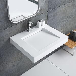 Lavabo mural en pierre artificielle rectangle avec pente pour salle de bains