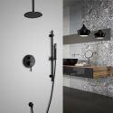 Colonne de douche ronde à 1 poignée montées au plafond, noir élégant, en laiton massif