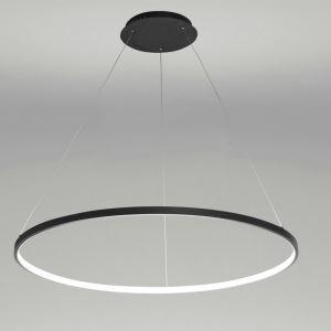 Suspension LED noir rond luminaire design pour salon salle à manger dans style moderne simple