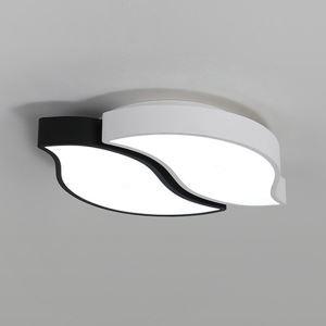 Lampe de plafond à LED moderne design feuille noir blanc pour salon/chambre