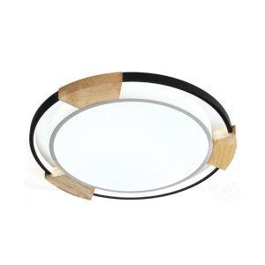 LED lampe de plafond rond avec cadre en bois pour chambre salle à manger, style contemporain