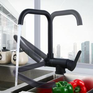 Robinet de cuisine noir élégant en laiton massif, design rotatif