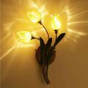 LED Applique murale Fer doré tulipe à 3 lampes H45cm luxe pour salon chambre