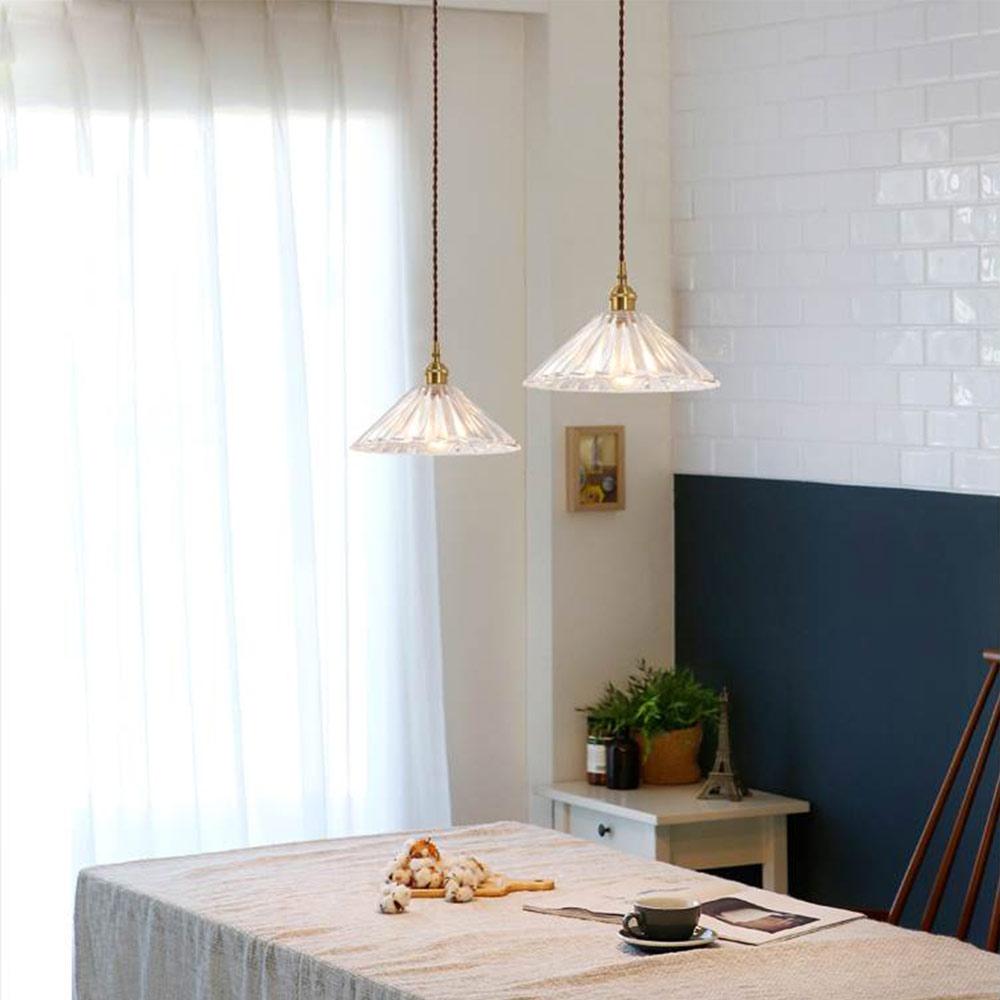 Salle A Manger Retro plafonnier style nordique rétro en verre laiton pour salle à