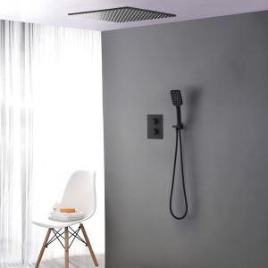 Colonne de douche noir encastrée avec douchette à main, 2 poignées