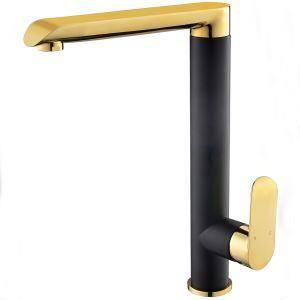 Mitigeur de lavabo doré et noir H31cm pour salle de bains