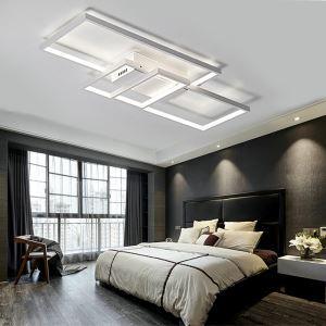 Plafonnier LED en acrylique L85cm 3 rectangles redoublés blanc pour chambre salon
