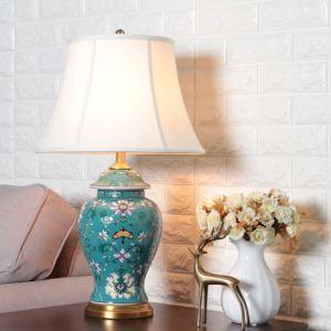 Lampe de table émaillée en céramique chinois classique pour chambre à coucher