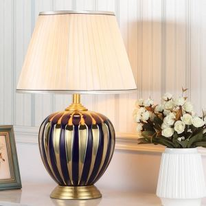 Lampe de table en céramique base en cuivre pour chambre/salon