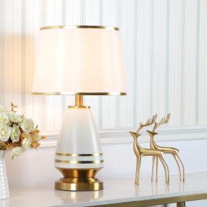 Lampe de table en céramique pour chambre abat-jour en tissu, style contemporain
