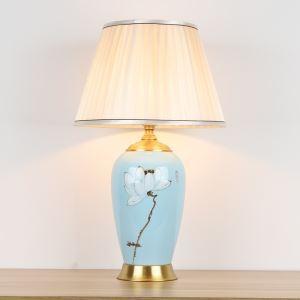 Lampe de Table en céramique Lampe de Chevet Bleu Clair