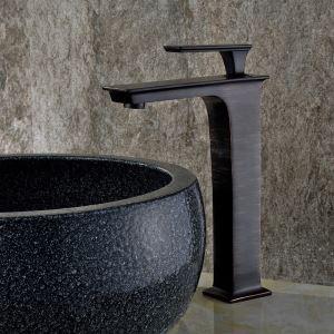 Robinet de lavabo noir brossé chaud et froid supporté, style rétro