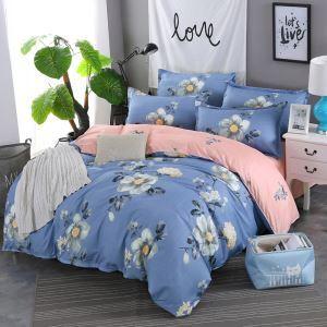 Housse de couette polyester avec décor bleu motif de fleur
