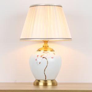 Lampe de table en céramique à motif peint à la main pour chambre à coucher/salon