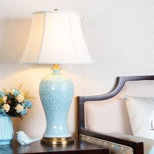 Lampe à poser bleue avec abat-jour en tissu blanc pour salon/salle d'étude