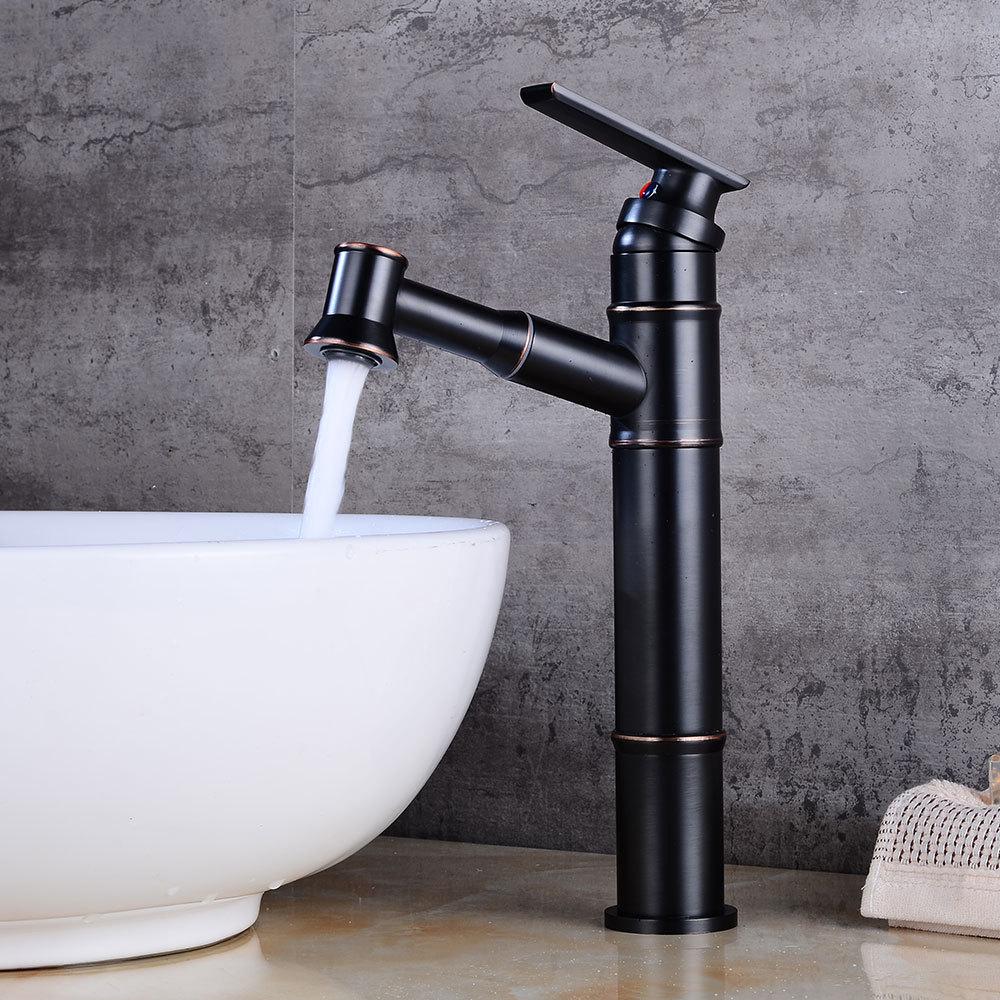 Mitigeur de lavabo avec douchette laiton H17.17cm noir pour salle