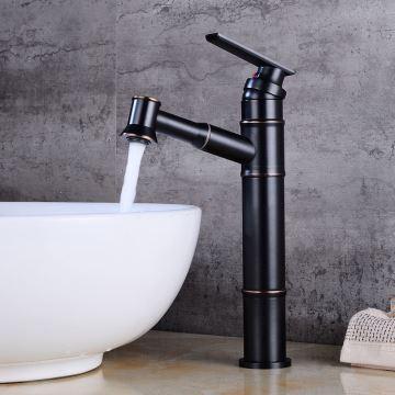 Mitigeur de lavabo avec douchette laiton H31.5cm noir pour salle de bain  rétro