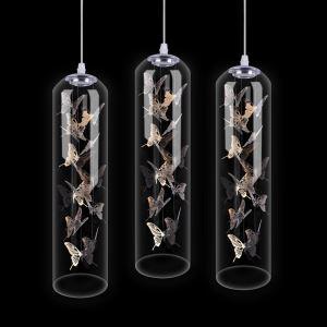 Suspension cylindrique en verre LED moderne design papillon pour restaurant salon chambre