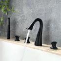 Robinet de baignoire noir élégant avec douchette à main, style contemporain